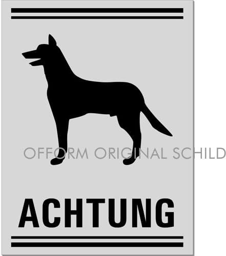 Nr.37050-E Hundewarnschild silbermatt eloxiert Hundeschild Achtung Sch/äferhund 200x150 mm selbstklebend Original aus der Ofform Aluminiumschilder-Kollektion