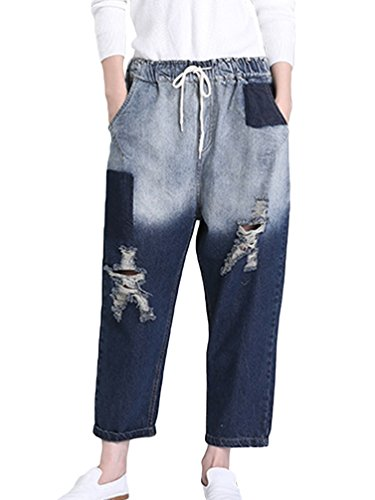 Denim Drawstring Taille pour Anguang Jeans Boyfriend Bleu Pantalon Baggy Jean Jean Femme ZHxfqzHa