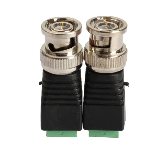 - Pack of 2 Mini Coax CAT5 To Camera CCTV BNC Video Balun Connector Adapter