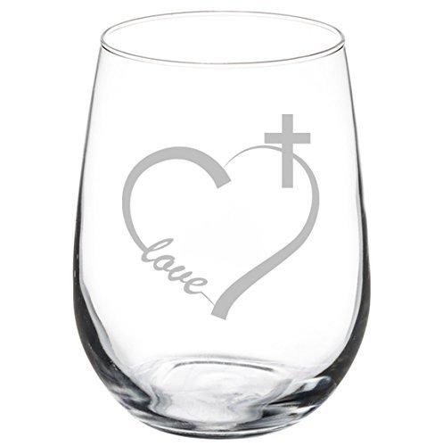 Wine Glass Goblet Love Heart Cross Christian (11 oz Stemless)