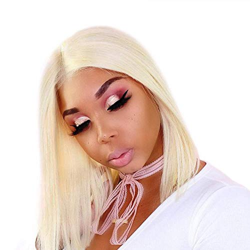 LVMIX Platinum Blonde Wig 13×6 Deep Part Bob Lace Front Wigs 14'' Natural Hair Hairline Silky Straight Wigs for Women #613 Synthetic Hair Repalcement Wig ()