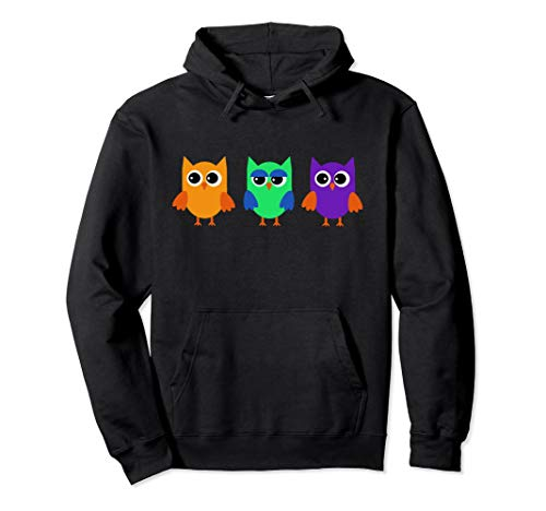 Cute Owl Hoodie Sweet Comic Birds with Funny Faces ()
