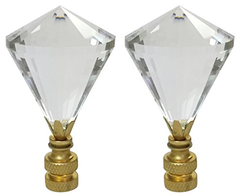 Royal Designs CCF2007-PB-2 Extra Large Diamond Gem Cut Clear K9 Crystal Finial for Lamp Shade with Polished Brass Base, Set of 2, 2 Piece by Royal Designs, Inc