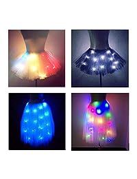 SHINYOU Women Tutu Skirt LED Light Up Ballet Dance Running Skirt Christmas Halloween Cosplay EDM Festival