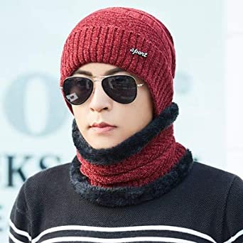 World 2 home Winter Beanies Men Scarf Knitted Hat Cap Mask Gorras Bonnet  Warm Baggy Winter Hat for Men Women Skullies Beanies Hats  Amazon.in   Clothing   ... 29c7e83e271c