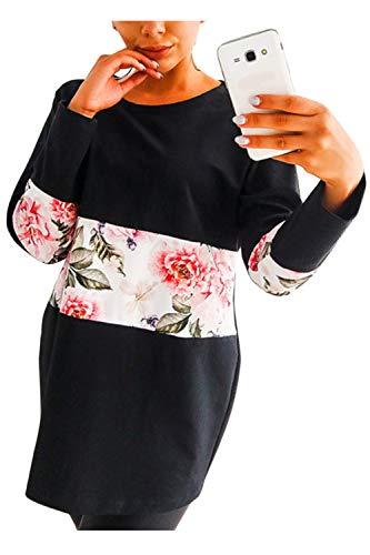 Noir Chemises Imprim Pull Tops Femmes Longues Floral Manches Casual Sweat zFd6Aq