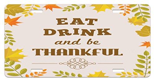 Lunarable Be Thankful License Plate, Maple Oak Leaf