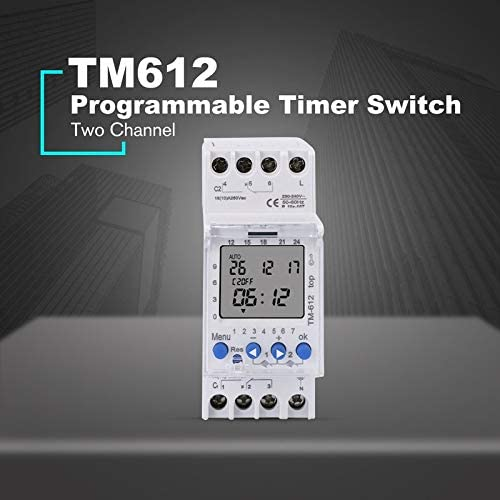 SINOTIMER 220V TM612 Two Channel Timer 7 Days 24Hours Programmable Electronic LCD Digital Time Switch with Two Relay Outputs Rodalind