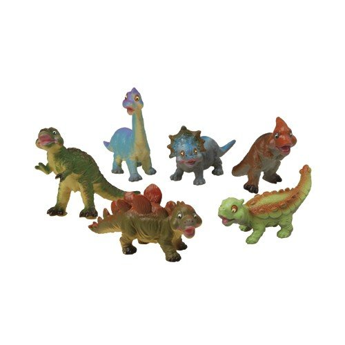 Constructive Playthings Dinosaur Set for Toddlers, Soft and Squeezable Dino Toys for Kids