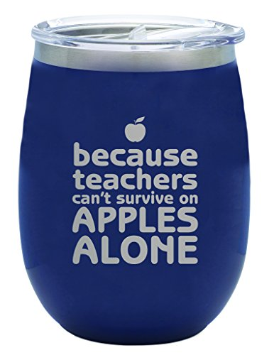 - TSC Powder Coated Teacher Appreciation Can't Survive On Apples 14oz Stemless Wineglass with Lid-Navy