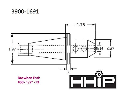Drowbar End HHIP 3900-1691 NMTB 30 Taper End Mill Holder 5//16 Bore