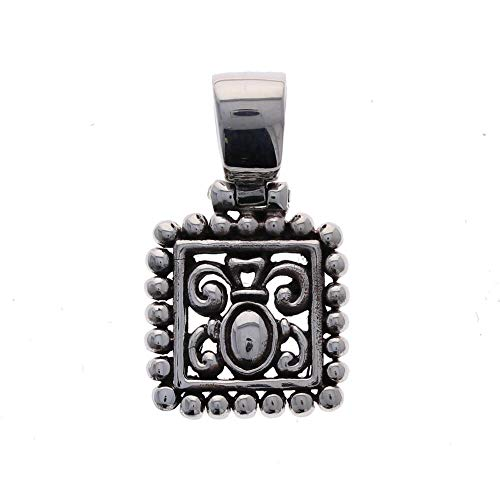 Sterling Silver.925 Square, Beaded Filigree, Pendant, Charm, Ornate Vintage
