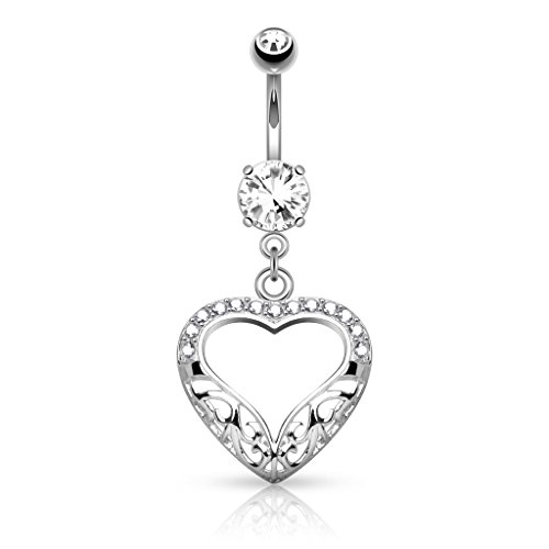 Dangle Belly Heart Gold (14K White Gold Filigree Heart with CZ Dangle Navel Ring Body Jewelry)