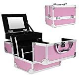 Aceshin Professional Small Makeup Train Case - Cosmetic Box with Adjustable Dividers - Aluminum Make Up Artist Organizer Kit With Mirror Jewelry Box - 3 Extendable Trays (US Stock) (Pink)