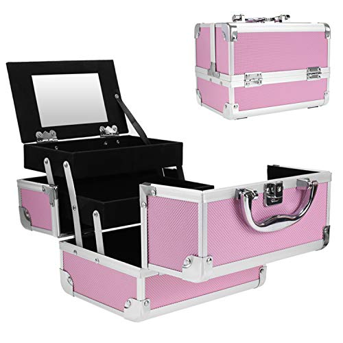 Aceshin Professional Small Makeup Train Case - Cosmetic Box with Adjustable Dividers - Aluminum Make Up Artist Organizer Kit With Mirror Jewelry Box - 3 Extendable Trays (US Stock) - Mirror Artist Makeup
