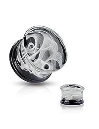 Pair of Swirling Smoke Style Pyrex Glass Double Flare Plugs - Body Jewelry