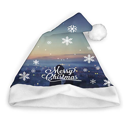 Silhouette of Couple Against Background of Night City Funny Christmas Hat Childrens and Adults Party Hat ()