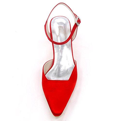 de Toe Blue L 16 Grande Mariage Buckle pour Closed Satin Demoiselle Bas d'honneur Taille Talons Chaussures Femmes YC 0723 fwBq4wRS