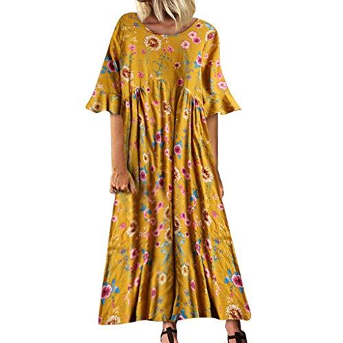 TUSANG Women Skirt Vintage Leisure Trumpet Sleeve O-Neck Broken Flower Print Long Dress Loose Comfy Long Dress(C-Yellow,US-12/CN-2XL) (Womens Mod Print Silk Dress)