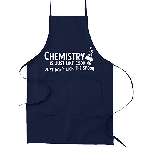 Chemistry is Just Like Cooking Don't Lick the Spoon Kitchen Apron - [Navy Blue]