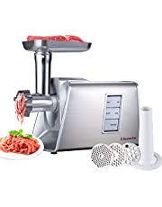 Sunmile SM-G73 Heavy Duty Electric Meat Grinder and Sausage Stuffer Maker 1000W Max with Stainless Steel Cutting Blade and 3 Cutting Plates and Sausage Stuff, ETL Certificated (White)