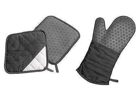 Lurch 70090 - Manopla para horno (silicona y tela), color negro ...