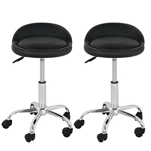 SUPER DEAL Adjustable Height Hydraulic Rolling Swivel Stool Tattoo Facial Massage Spa Salon Medical Stool with Back Rest (2PCS)