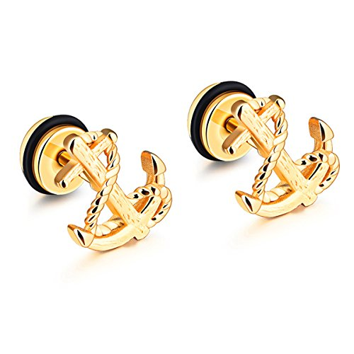Stainless Gold Anchor Stud Earrings - 7