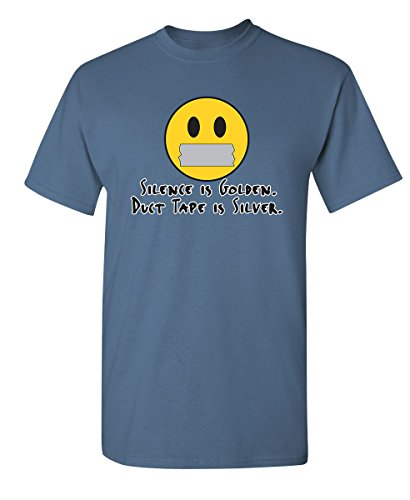 Tape Humor Duct - Silence is Golden Duct Tape is Silver Adult Humor Cool Sarcastic Funny T Shirts L Dusk