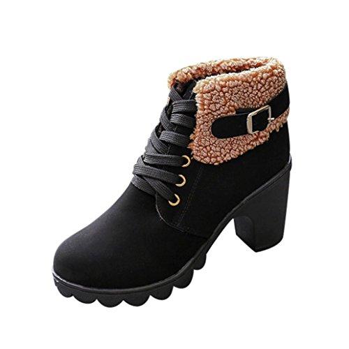 Shoes Platform Plush High Boots Black up Lace Martin hunpta Heels Winter Women's Boots qRAxvOY
