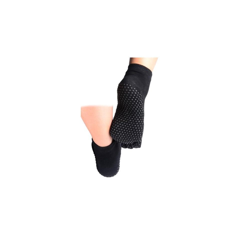 CompressionZ Yoga Socks Non Slip Full Toe (Black) Women & Men Pilates Strong Grip, Non Slid
