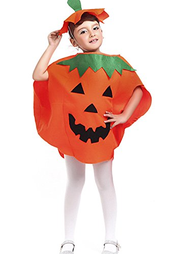 Halloween Pumpkin Costume Set for Family Parent Kids Orange Pumpkin Cosplay Suit Hat School Party Children Clothing Clothes Accessory (Kids Size(For Height 39''-59''))
