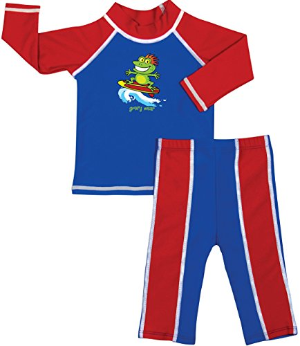 grUVywear Baby | Toddler Boys Rash Guard Long Sleeve Swimsuit Set 2 Piece UPF 50 - Toad-Ally Cool | 18-24 Months