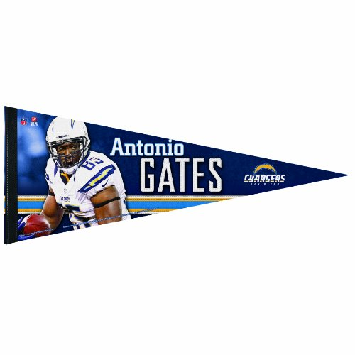 NFL San Diego Chargers Antonio Gates 12 by 30-Inch Premium Quality Pennant
