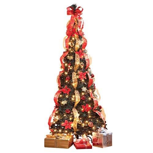 HOLIDAY PEAK 7' Pull-Up Poinsettia Christmas Tree, Pre-Lit and Fully Decorated, Collapses for Easy Storage (Ready Trees Decorated Christmas All)