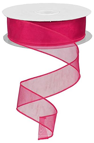 Organza Ribbon Fuchsia Sheer (sheer organza ribbon wired. color- fuchsia. 11/2'' x 50 yard)
