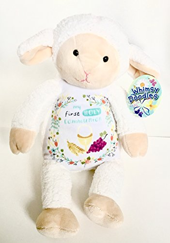 Plush Lamb First Holy Communion Stuffed Animal for Christians, Catholics, Bible Lovers (Gift Baskets Websites)