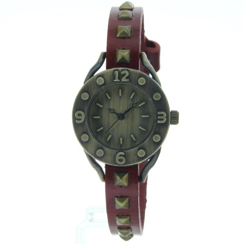 Vintage Dress Rusted Copper Rivets Red Band Round Bronze Arabic Number Case Watch