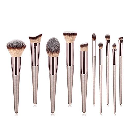ILADIO Makeup Brushes 10 Pcs Set Premium Synthetic Make up Brushes Champagne Gold Brushes for Foundation Kabuki Blush Concealer Eye shadow