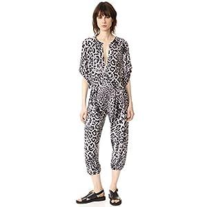 Norma Kamali Women's Rectangle Jog Jumpsuit in Grey Leopard