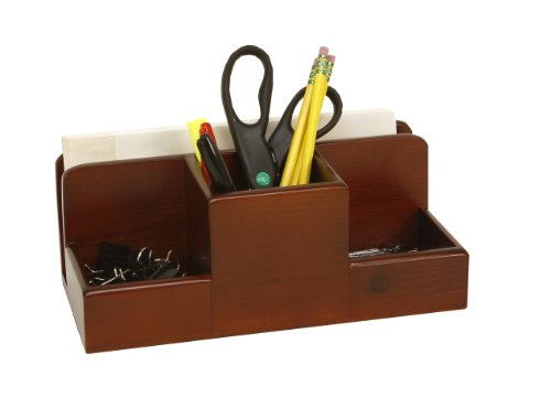C.R. Gibson Stained Birch Wood, Supply Desk Caddy by Markings, Overall Measures 10.6 W x 5