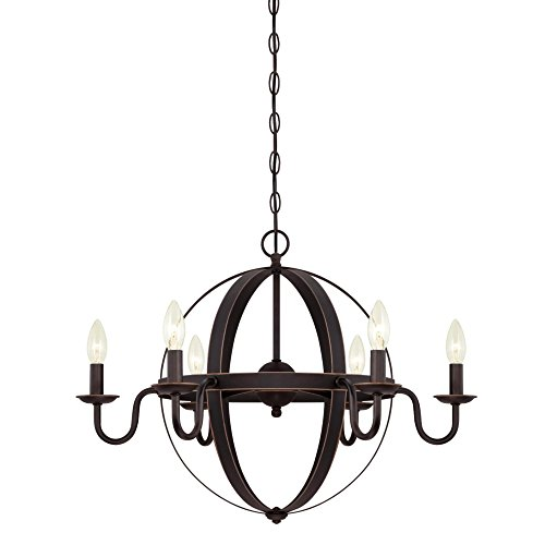 Westinghouse 6303300 Brixton Six-Light Indoor Chandelier, Oil Rubbed Bronze Finish with Highlights Old Bronze Finish Chandeliers