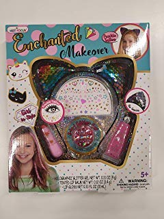 HOT Focus Enchanted Makeover - Critter. Cat Ear Headband, 1 Jar of Glitter, 1 Sheet of Freckle Tattoos, Lip Gloss & Lip Balm. Shimmering and Sparkling Beauty for Kids/Girls. Perfect for Any Occasion.