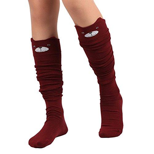 Clearance Sale! Women Cat Catoon Sock JMETRIE Women Cat Catoon Socks Long Socks Over Knee High Sock (Red)