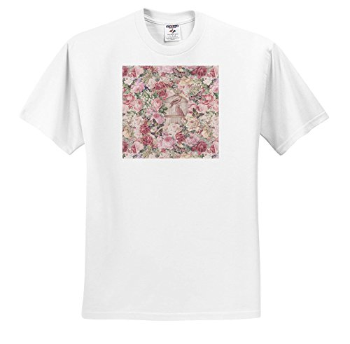 Price comparison product image Andrea Haase Art Illustration - Vintage Birdcage and Flower Pattern in Pastel Pink - T-Shirts - Youth T-Shirt Large(14-16) (ts_282549_14)