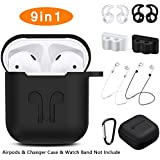 AirPods Case, Rockindeer 9 in 1 AirPods Accessories Set Protective Silicone Cover and Skin Compatible Apple AirPods Charging Case with Watch Band Holder/Ear Hook/Keychain/Strap/Carrying Box (Black)