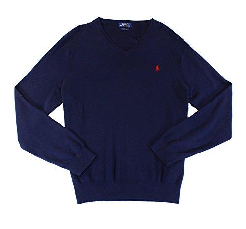 Polo Ralph Lauren Mens Pima Cotton Long Sleeves V-Neck Sweater Navy S