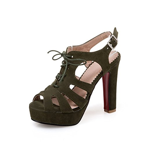 Zapatos de Mujer Primavera y Verano Zapatos de tacón Sandalias de Tubo Corto Tacón Crudo Súper tacón de Plataforma Impermeable Sandalias de Hebilla Sandalias (Color : Verde, tamaño : 37)