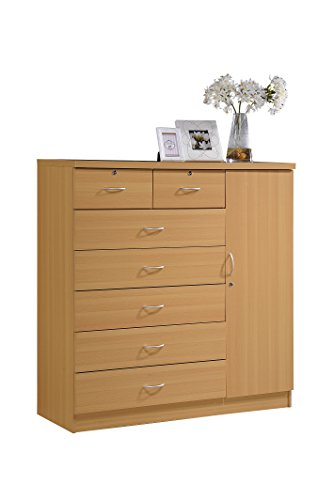 Hodedah 7 Drawer Jumbo Chest, Five Large Drawers, Two Smalle