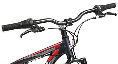 """Mongoose Men's Status 2.4 27.5"""" Wheel Full Suspension Bicycle, Steel Blue, 18""""/Medium Frame Size"""